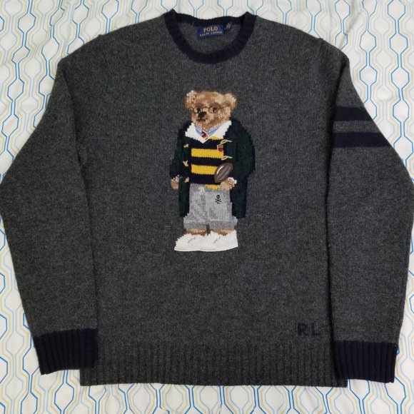 Polo Ralph Lauren Football Rugby Bear Wool Sweater